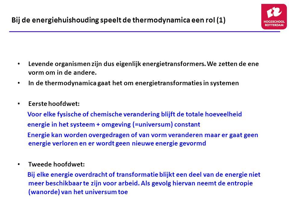 Bij de energiehuishouding speelt de thermodynamica een rol (1) Levende organismen zijn dus eigenlijk energietransformers. We zetten de ene vorm om in