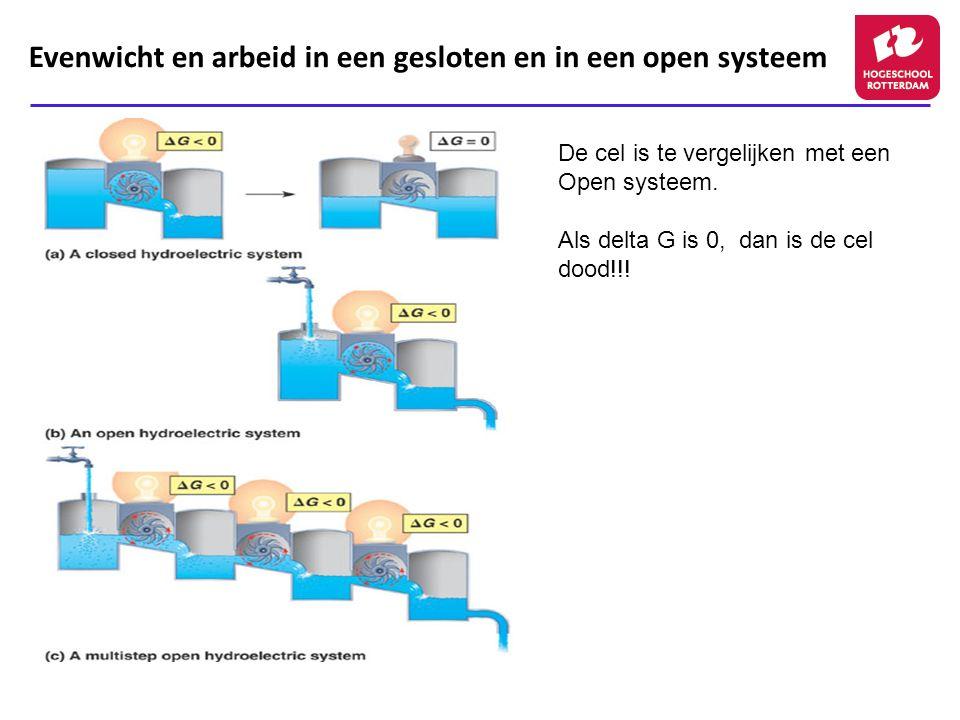 Evenwicht en arbeid in een gesloten en in een open systeem De cel is te vergelijken met een Open systeem. Als delta G is 0, dan is de cel dood!!!