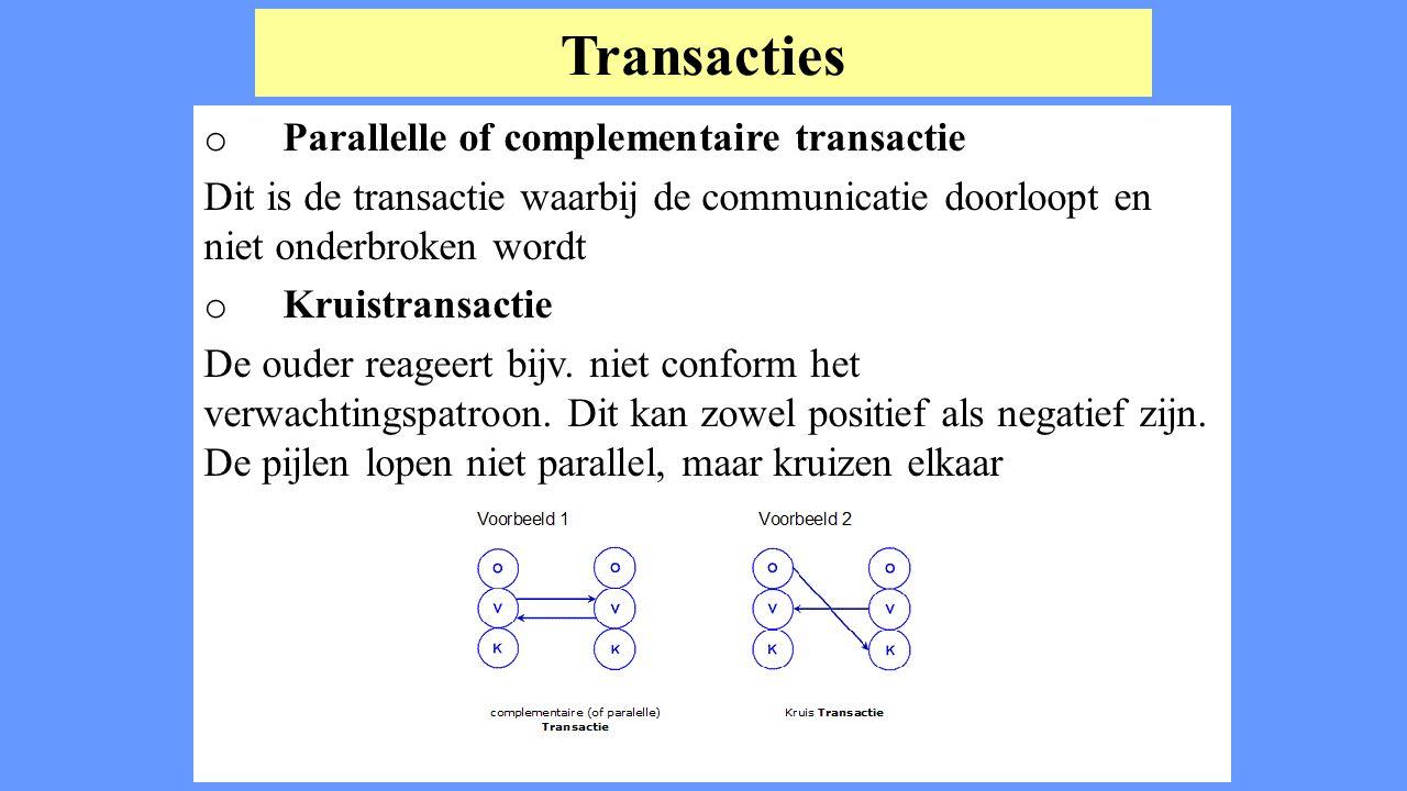 Transacties o Parallelle of complementaire transactie Dit is de transactie waarbij de communicatie doorloopt en niet onderbroken wordt o Kruistransact