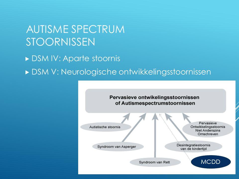 AUTISME SPECTRUM STOORNISSEN  DSM IV: Aparte stoornis  DSM V: Neurologische ontwikkelingsstoornissen MCDD