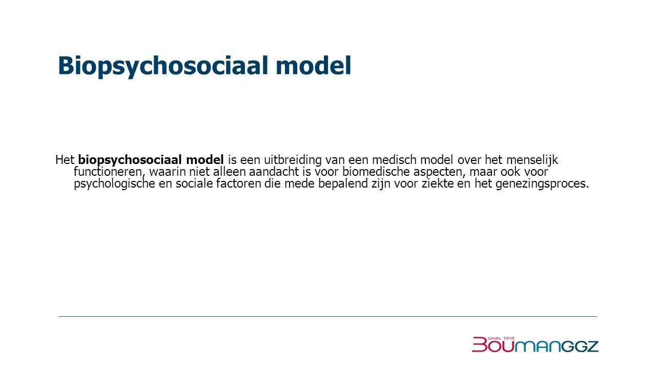 Biopsychosociaal model Het biopsychosociaal model is een uitbreiding van een medisch model over het menselijk functioneren, waarin niet alleen aandach