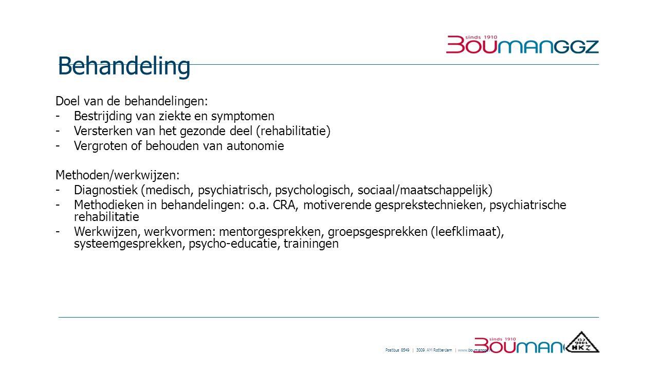Postbus 8549 | 3009 AM Rotterdam | www.boumanggz.nl Behandeling Doel van de behandelingen: - Bestrijding van ziekte en symptomen -Versterken van het g