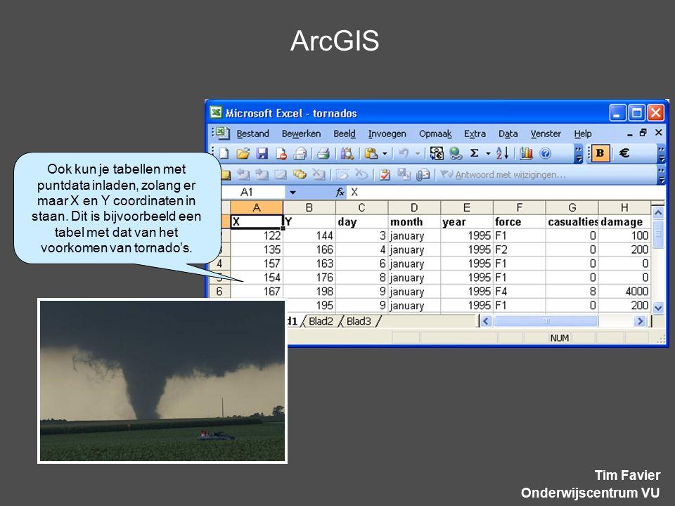 ArcGIS Tim Favier Onderwijscentrum VU Ook kun je tabellen met puntdata inladen, zolang er maar X en Y coordinaten in staan. Dit is bijvoorbeeld een ta