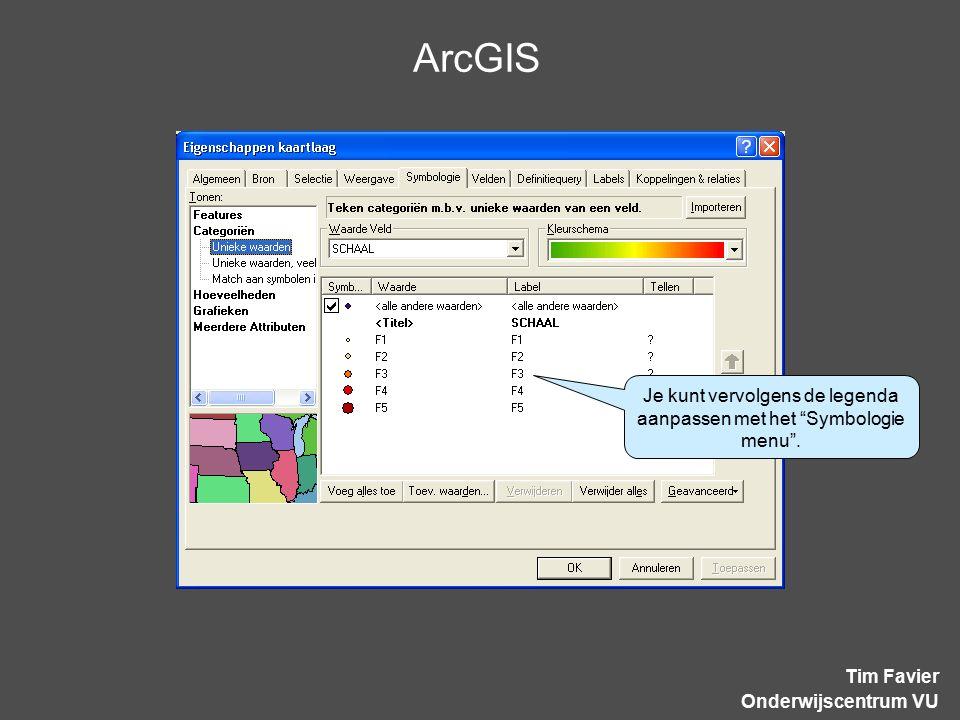 """ArcGIS Tim Favier Onderwijscentrum VU Je kunt vervolgens de legenda aanpassen met het """"Symbologie menu""""."""