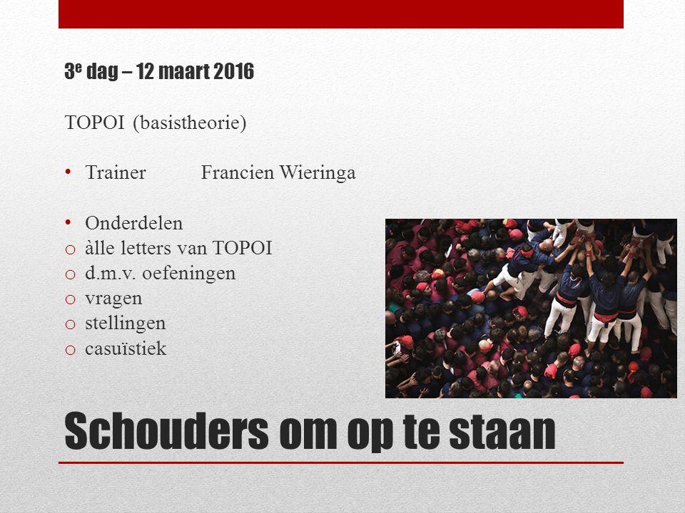 Schouders om op te staan 3 e dag – 12 maart 2016 TOPOI (basistheorie) TrainerFrancien Wieringa Onderdelen o àlle letters van TOPOI o d.m.v. oefeningen