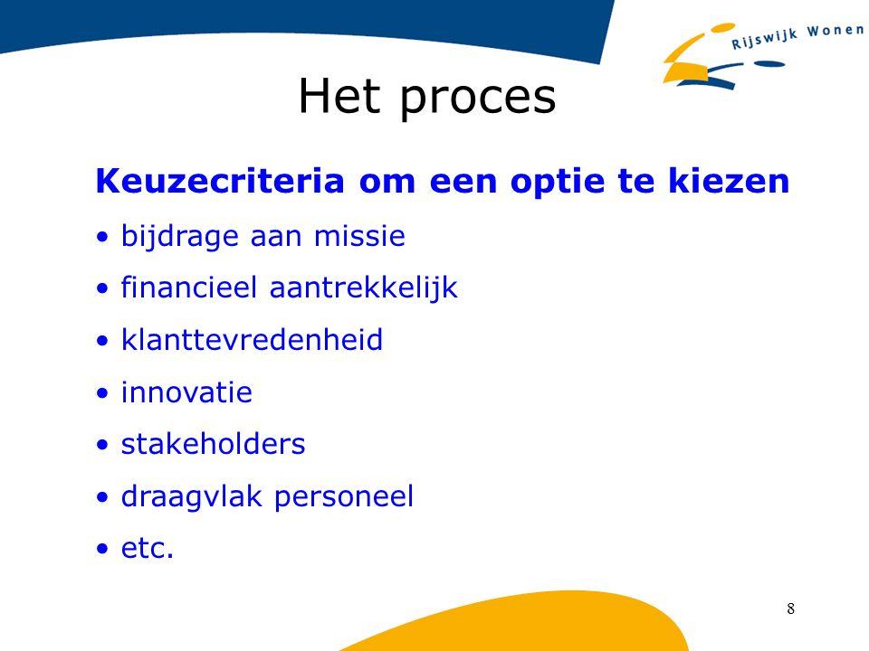 8 Het proces Keuzecriteria om een optie te kiezen bijdrage aan missie financieel aantrekkelijk klanttevredenheid innovatie stakeholders draagvlak pers