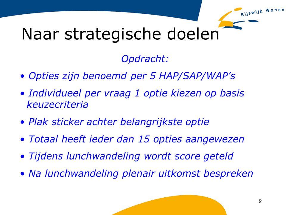 9 Naar strategische doelen Opdracht: Opties zijn benoemd per 5 HAP/SAP/WAP's Individueel per vraag 1 optie kiezen op basis keuzecriteria Plak sticker