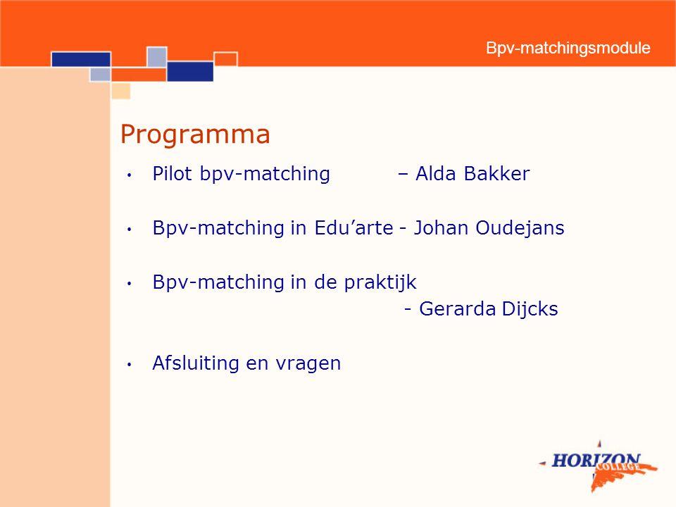 Bpv-matchingsmodule Programma Pilot bpv-matching – Alda Bakker Bpv-matching in Edu'arte - Johan Oudejans Bpv-matching in de praktijk - Gerarda Dijcks