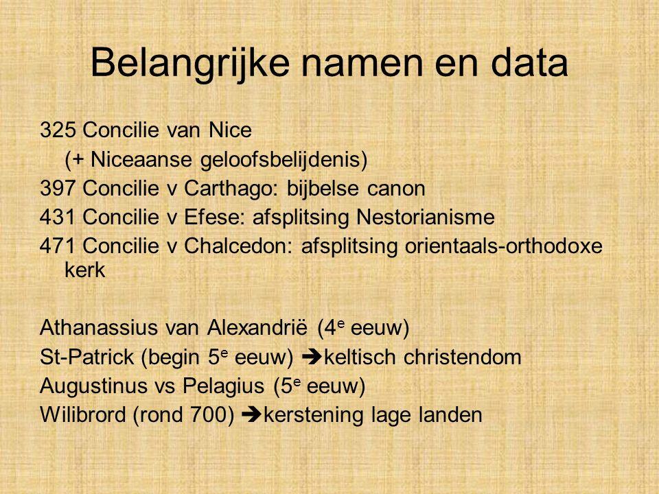 Belangrijke namen en data 325 Concilie van Nice (+ Niceaanse geloofsbelijdenis) 397 Concilie v Carthago: bijbelse canon 431 Concilie v Efese: afsplits