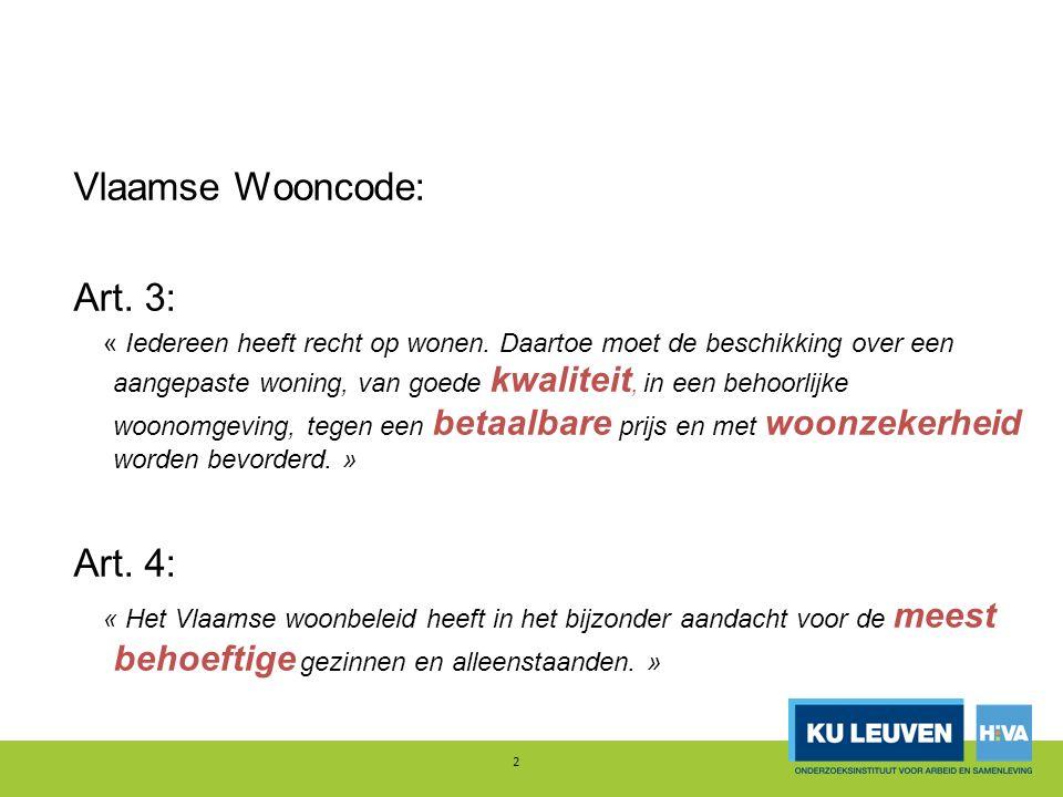2 Vlaamse Wooncode: Art. 3: « Iedereen heeft recht op wonen.