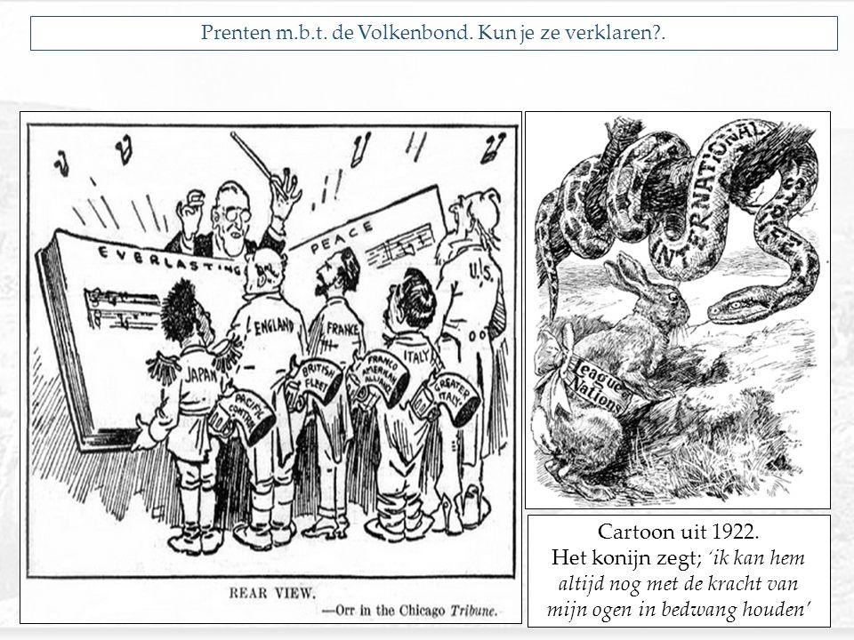 Prenten m.b.t. de Volkenbond. Kun je ze verklaren?. Cartoon uit 1922. Het konijn zegt; 'ik kan hem altijd nog met de kracht van mijn ogen in bedwang h