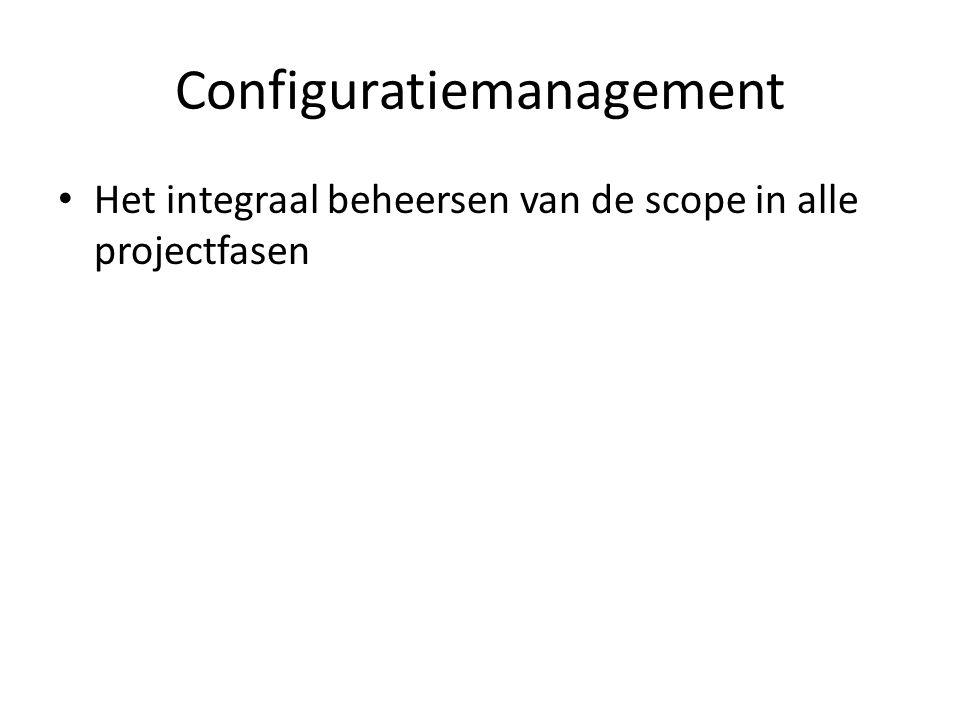 Configuratiemanagement Het integraal beheersen van de scope in alle projectfasen