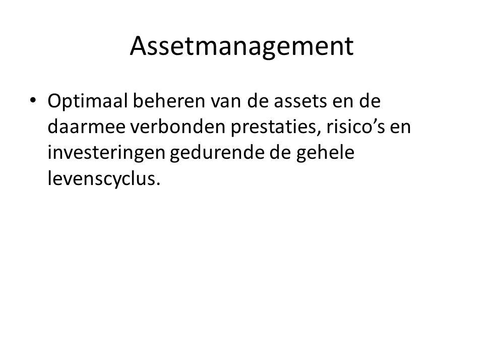 Assetmanagement Optimaal beheren van de assets en de daarmee verbonden prestaties, risico's en investeringen gedurende de gehele levenscyclus.