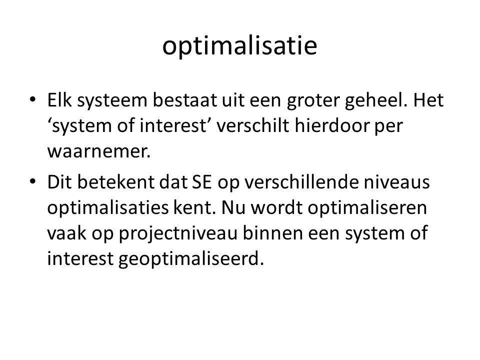 optimalisatie Elk systeem bestaat uit een groter geheel. Het 'system of interest' verschilt hierdoor per waarnemer. Dit betekent dat SE op verschillen