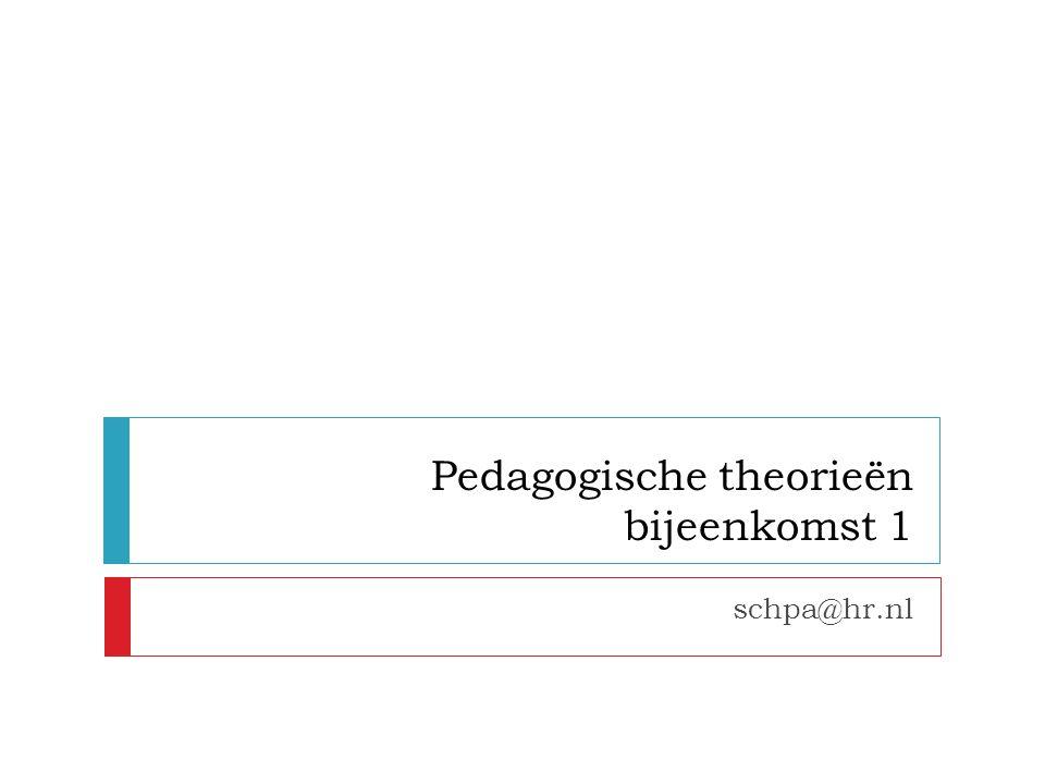 Pedagogische theorieën bijeenkomst 1 schpa@hr.nl