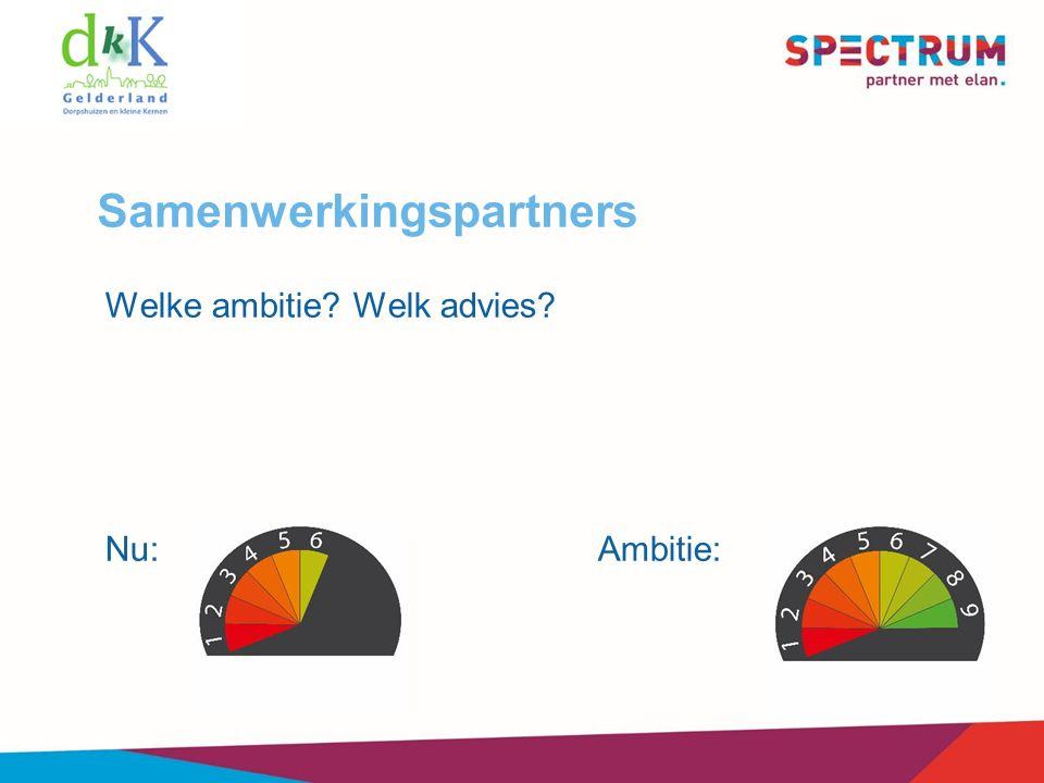 Samenwerkingspartners Welke ambitie Welk advies Nu:Ambitie: