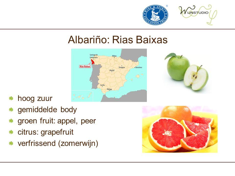 Albariño: Rias Baixas hoog zuur gemiddelde body groen fruit: appel, peer citrus: grapefruit verfrissend (zomerwijn)