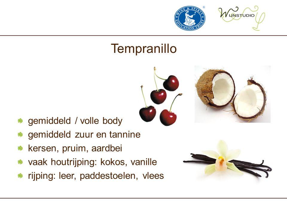 Tempranillo gemiddeld / volle body gemiddeld zuur en tannine kersen, pruim, aardbei vaak houtrijping: kokos, vanille rijping: leer, paddestoelen, vlee