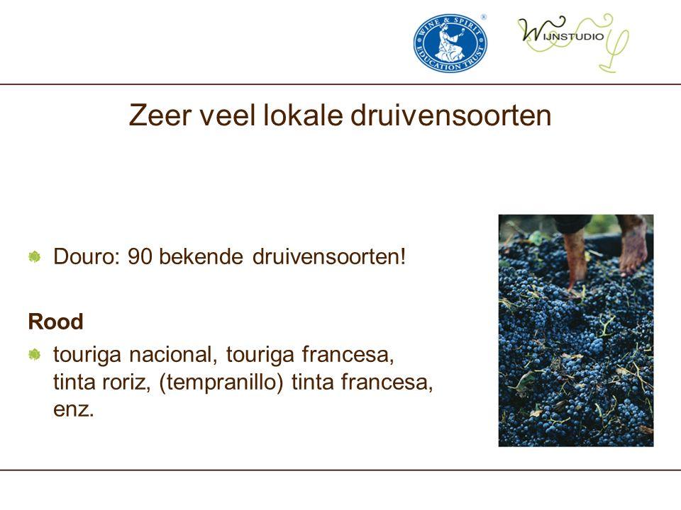 Zeer veel lokale druivensoorten Douro: 90 bekende druivensoorten! Rood touriga nacional, touriga francesa, tinta roriz, (tempranillo) tinta francesa,