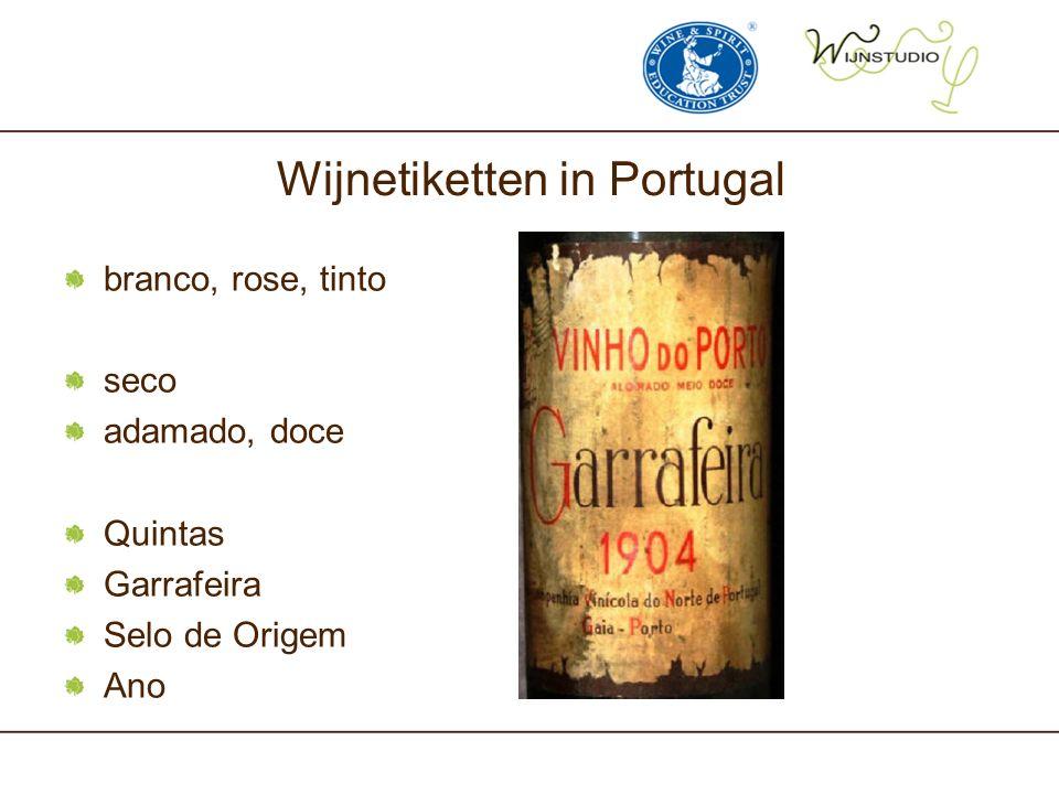 Wijnetiketten in Portugal branco, rose, tinto seco adamado, doce Quintas Garrafeira Selo de Origem Ano
