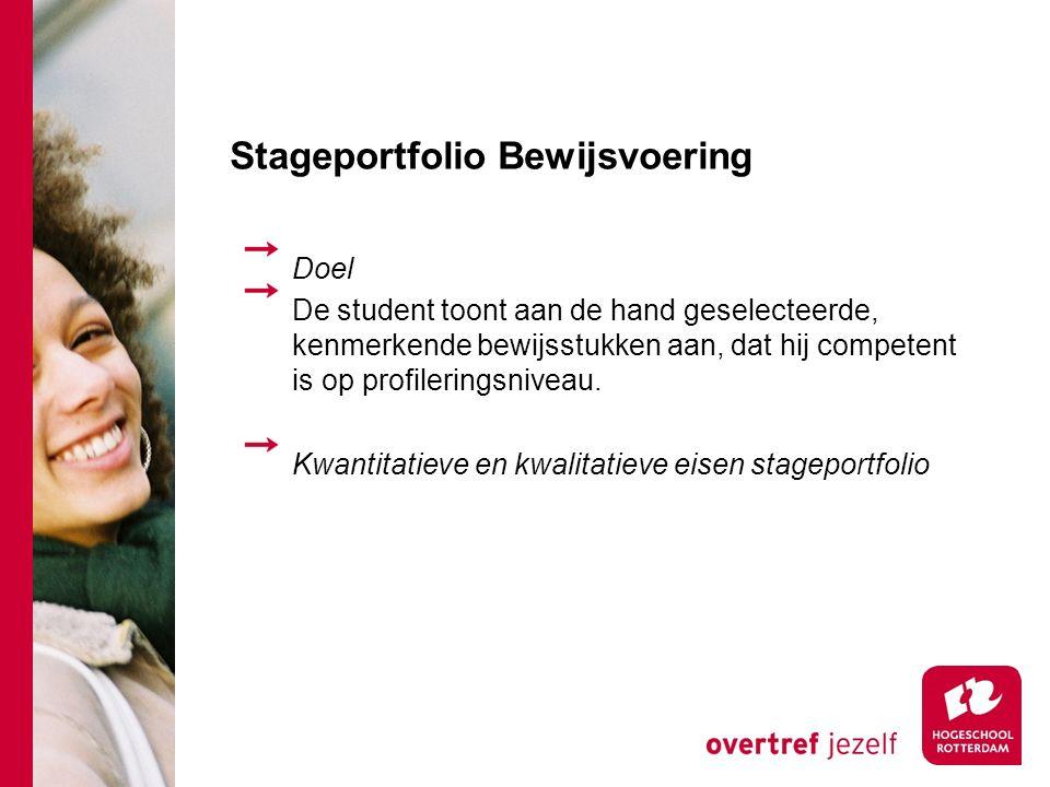 Stageportfolio Bewijsvoering Doel De student toont aan de hand geselecteerde, kenmerkende bewijsstukken aan, dat hij competent is op profileringsniveau.