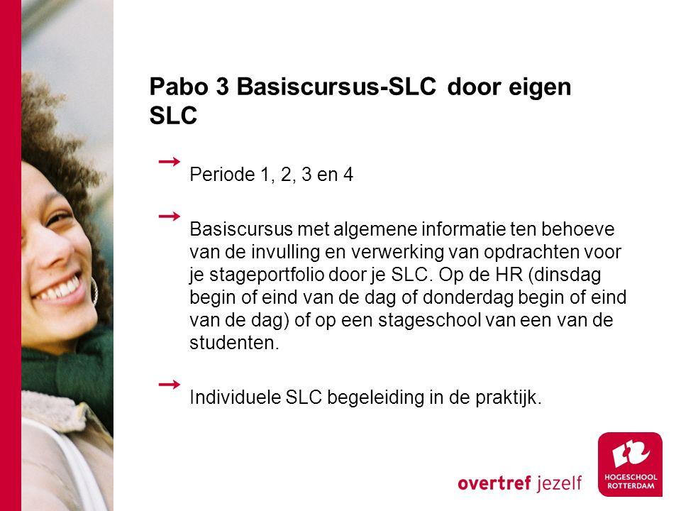 Pabo 3 Basiscursus-SLC door eigen SLC Periode 1, 2, 3 en 4 Basiscursus met algemene informatie ten behoeve van de invulling en verwerking van opdrachten voor je stageportfolio door je SLC.