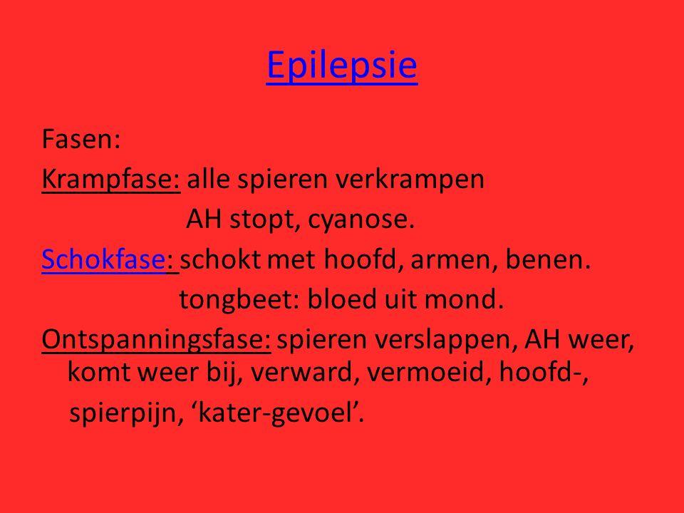 Epilepsie Fasen: Krampfase: alle spieren verkrampen AH stopt, cyanose. SchokfaseSchokfase: schokt met hoofd, armen, benen. tongbeet: bloed uit mond. O
