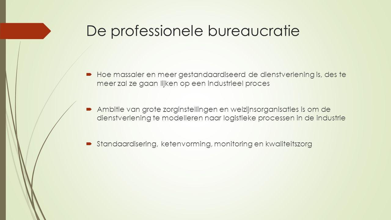 De professionele bureaucratie  Hoe massaler en meer gestandaardiseerd de dienstverlening is, des te meer zal ze gaan lijken op een industrieel proces  Ambitie van grote zorginstellingen en welzijnsorganisaties is om de dienstverlening te modelleren naar logistieke processen in de industrie  Standaardisering, ketenvorming, monitoring en kwaliteitszorg