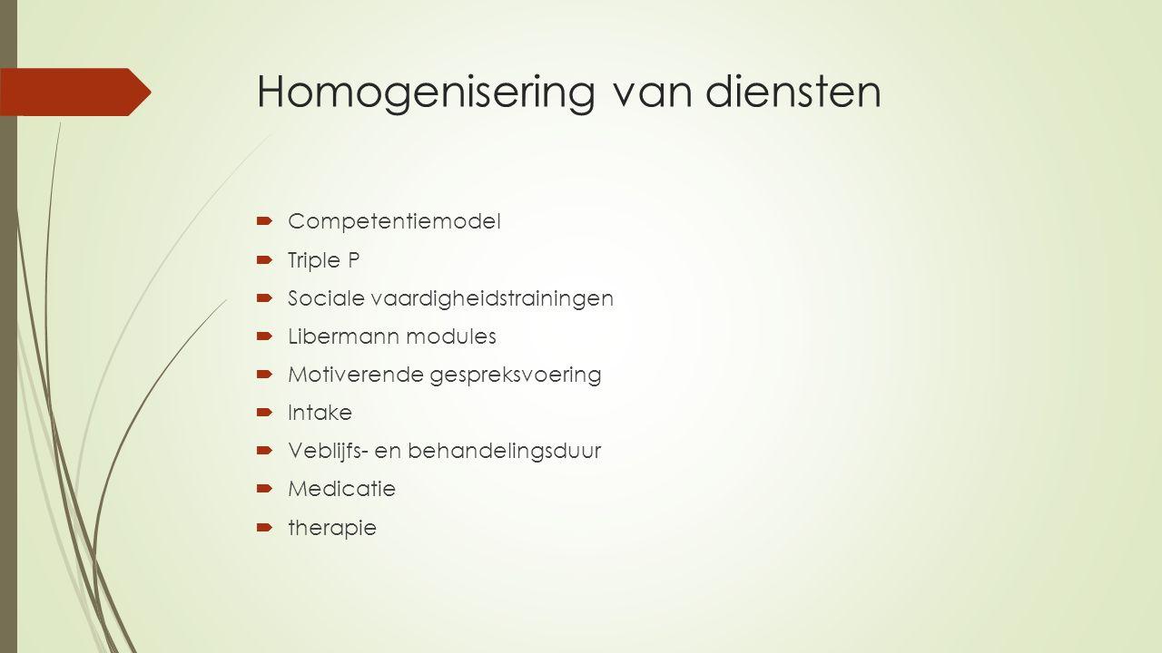 Homogenisering van diensten  Competentiemodel  Triple P  Sociale vaardigheidstrainingen  Libermann modules  Motiverende gespreksvoering  Intake  Veblijfs- en behandelingsduur  Medicatie  therapie