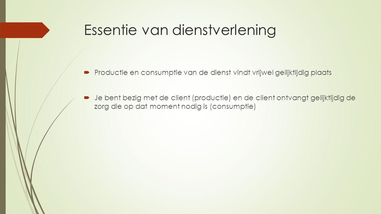 Essentie van dienstverlening  Productie en consumptie van de dienst vindt vrijwel gelijktijdig plaats  Je bent bezig met de client (productie) en de client ontvangt gelijktijdig de zorg die op dat moment nodig is (consumptie)