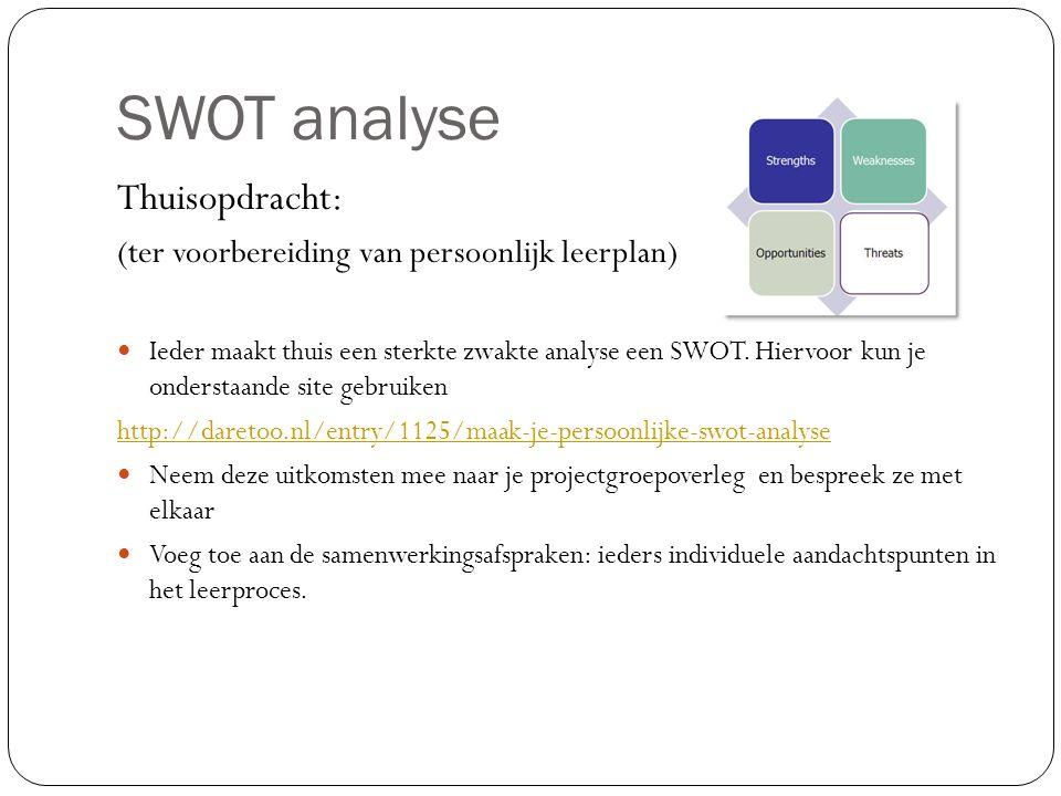 SWOT analyse Thuisopdracht: (ter voorbereiding van persoonlijk leerplan) Ieder maakt thuis een sterkte zwakte analyse een SWOT. Hiervoor kun je onders