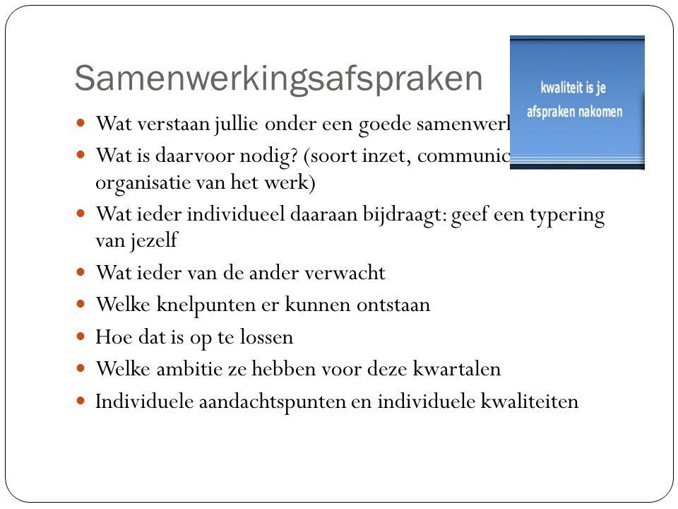 Samenwerkingsafspraken Wat verstaan jullie onder een goede samenwerking? Wat is daarvoor nodig? (soort inzet, communicatie, feedback, organisatie van