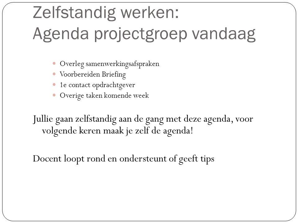 Zelfstandig werken: Agenda projectgroep vandaag Overleg samenwerkingsafspraken Voorbereiden Briefing 1e contact opdrachtgever Overige taken komende we