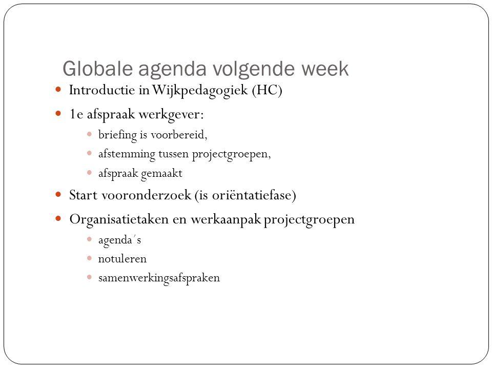 Globale agenda volgende week Introductie in Wijkpedagogiek (HC) 1e afspraak werkgever: briefing is voorbereid, afstemming tussen projectgroepen, afspr