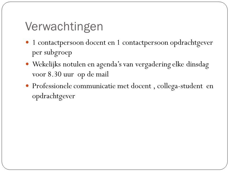 Verwachtingen 1 contactpersoon docent en 1 contactpersoon opdrachtgever per subgroep Wekelijks notulen en agenda's van vergadering elke dinsdag voor 8