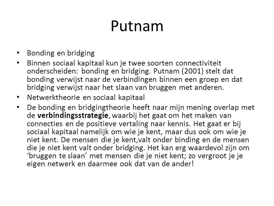 Putnam Bonding en bridging Binnen sociaal kapitaal kun je twee soorten connectiviteit onderscheiden: bonding en bridging. Putnam (2001) stelt dat bond