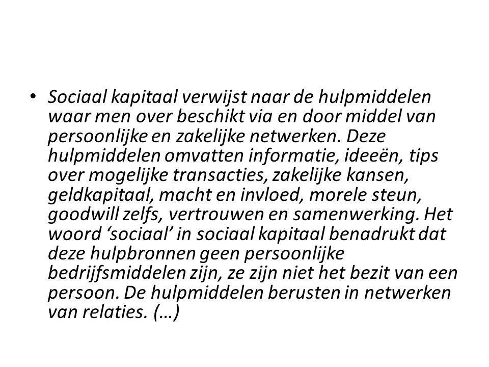 Sociaal kapitaal verwijst naar de hulpmiddelen waar men over beschikt via en door middel van persoonlijke en zakelijke netwerken. Deze hulpmiddelen om