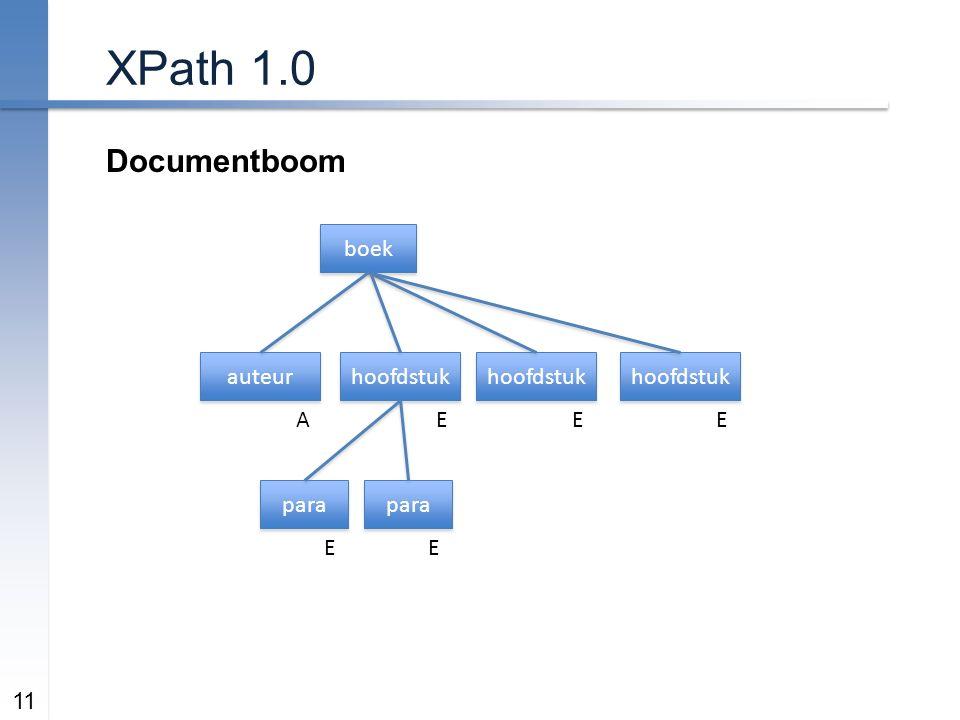 XPath 1.0 Documentboom 11 boek hoofdstuk auteur AEEE para EE