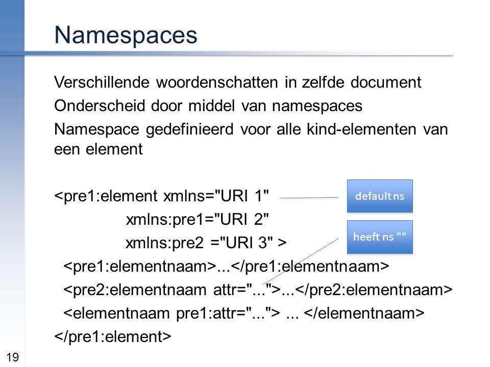 Namespaces Verschillende woordenschatten in zelfde document Onderscheid door middel van namespaces Namespace gedefinieerd voor alle kind-elementen van een element <pre1:element xmlns= URI 1 xmlns:pre1= URI 2 xmlns:pre2 = URI 3 >...