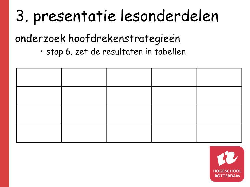3. presentatie lesonderdelen onderzoek hoofdrekenstrategieën stap 6. zet de resultaten in tabellen