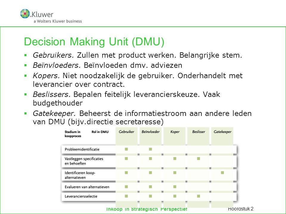 Inkoop in Strategisch Perspectief Decision Making Unit (DMU)  Gebruikers. Zullen met product werken. Belangrijke stem.  Beïnvloeders. Beïnvloeden dm