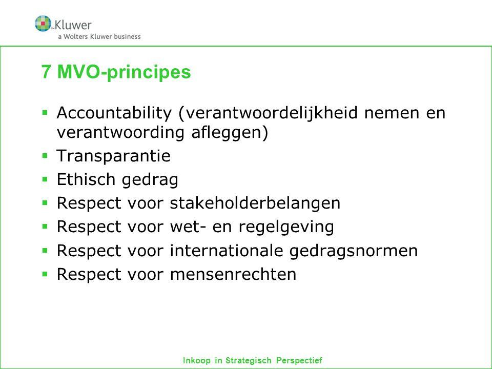 Inkoop in Strategisch Perspectief 7 MVO-principes  Accountability (verantwoordelijkheid nemen en verantwoording afleggen)  Transparantie  Ethisch g