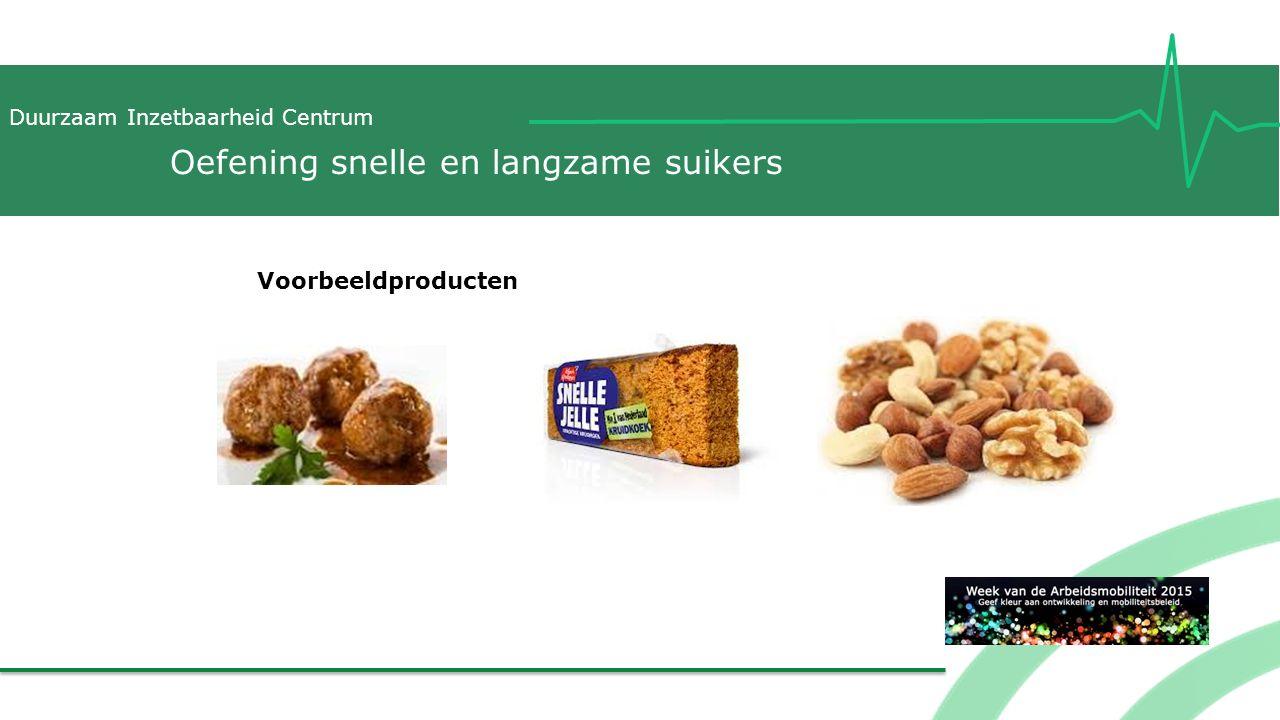 Duurzaam Inzetbaarheid Centrum Voorbeeldproducten Oefening snelle en langzame suikers