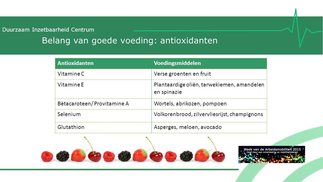 Duurzaam Inzetbaarheid Centrum Belang van goede voeding: antioxidanten AntioxidantenVoedingsmiddelen Vitamine CVerse groenten en fruit Vitamine EPlant