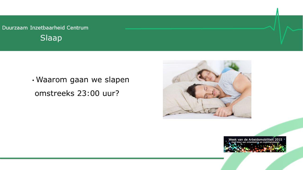 Duurzaam Inzetbaarheid Centrum Waarom gaan we slapen omstreeks 23:00 uur? Slaap
