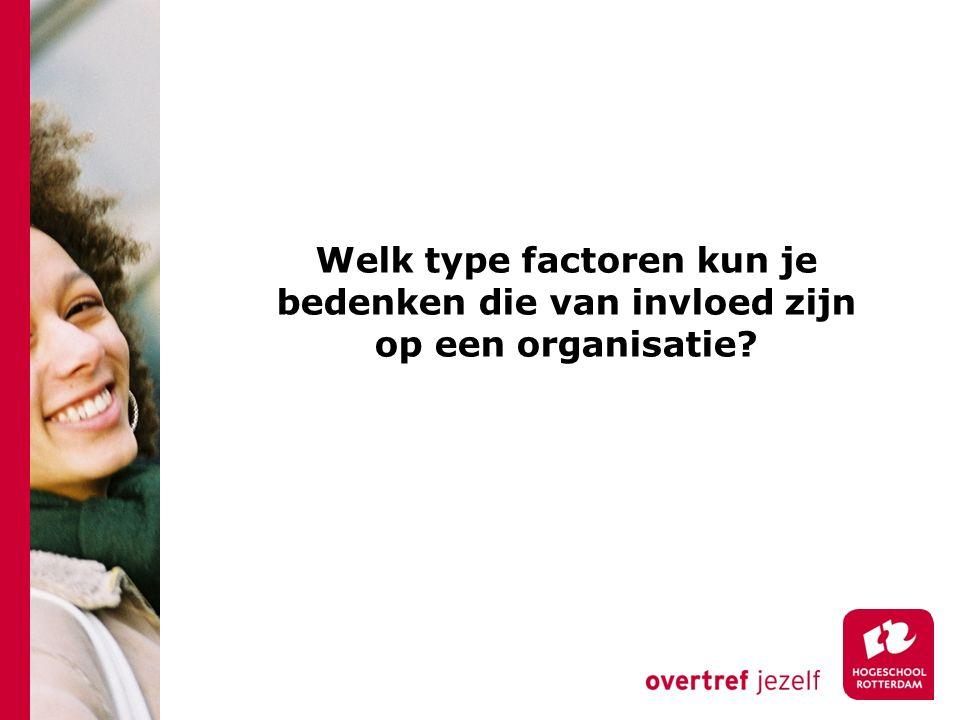 Welk type factoren kun je bedenken die van invloed zijn op een organisatie?