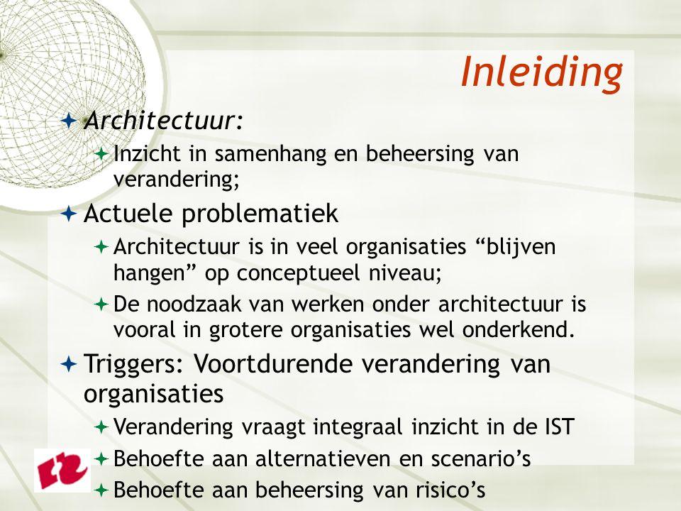 Inleiding  Architectuur:  Inzicht in samenhang en beheersing van verandering;  Actuele problematiek  Architectuur is in veel organisaties blijven hangen op conceptueel niveau;  De noodzaak van werken onder architectuur is vooral in grotere organisaties wel onderkend.