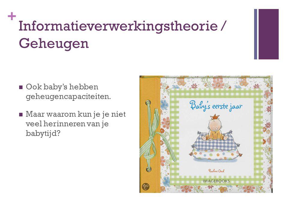 + Informatieverwerkingstheorie / Geheugen Ook baby's hebben geheugencapaciteiten. Maar waarom kun je je niet veel herinneren van je babytijd?