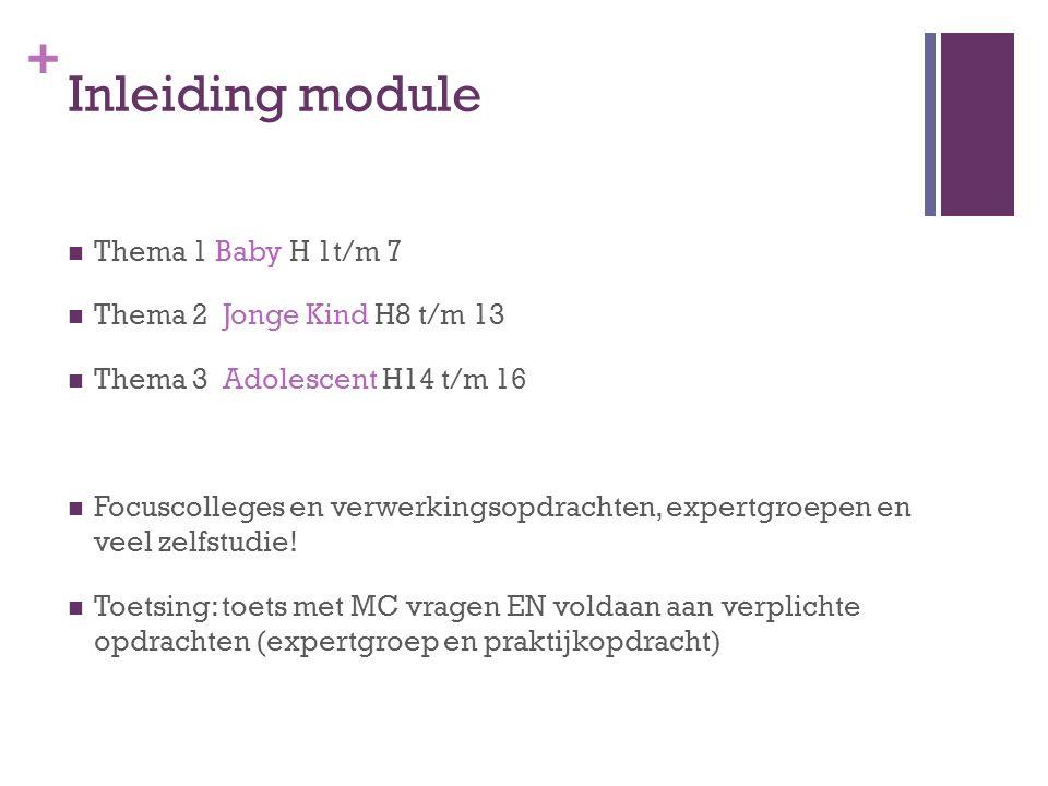 + Inleiding module Thema 1 Baby H 1t/m 7 Thema 2 Jonge Kind H8 t/m 13 Thema 3 Adolescent H14 t/m 16 Focuscolleges en verwerkingsopdrachten, expertgroe