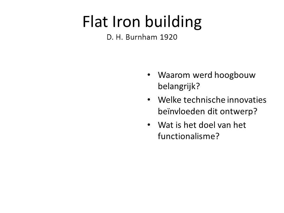 Flat Iron building D.H. Burnham 1920 Waarom werd hoogbouw belangrijk.